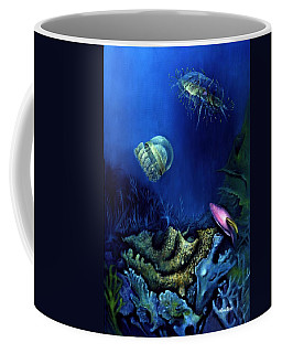 Coffee Mug featuring the painting One Fish Two Jelly Fish by Lynn Buettner