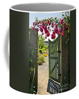 Open Garden Gate With Roses Coffee Mug
