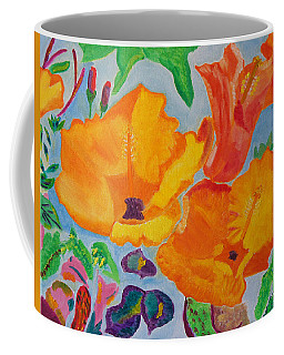Orange Flowers Reaching For The Sun Coffee Mug by Meryl Goudey