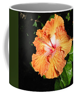 Orange Hibiscus After The Rain 1 Coffee Mug by Connie Fox