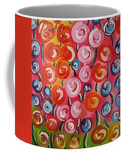Original Modern Impasto Flowers Painting  Coffee Mug by Gioia Albano