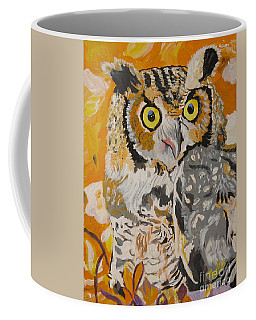 Coffee Mug featuring the painting Owl In The Fall by Phyllis Kaltenbach