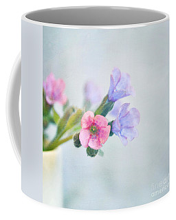 Pale Pink And Purple Pulmonaria Flowers Coffee Mug by Lyn Randle