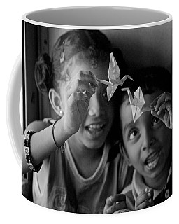 Peace And Love Coffee Mug by Valerie Rosen