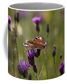 Peacock Butterfly On Knapweed Coffee Mug