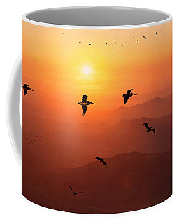 Coffee Mug featuring the photograph Pelican Migration by Chris Lord