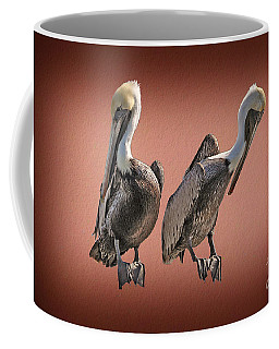 Coffee Mug featuring the photograph Pelicans Posing by Dan Friend
