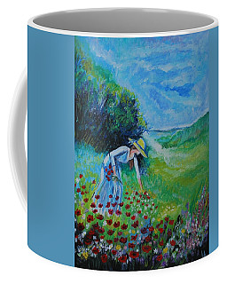 Coffee Mug featuring the painting Picking Flowers by Leslie Allen