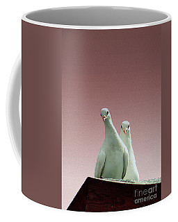 Pigeons In The Pink Coffee Mug by Linsey Williams