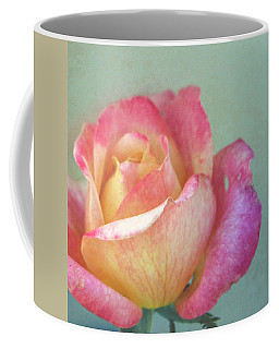 Coffee Mug featuring the photograph Pink And Yellow Rose On Robin's Egg Blue by Brooke T Ryan