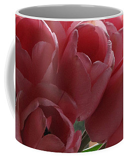 Coffee Mug featuring the photograph Pink Tulips In Vase by Katie Wing Vigil