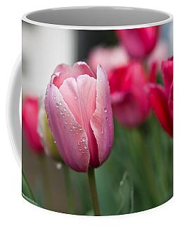 Pink Tulips With Water Drops Coffee Mug