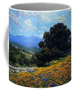 Poppy Field With Oaks And Lupines Coffee Mug