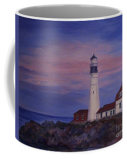Coffee Mug featuring the painting Portland Head Lighthouse At Dawn by Julie Brugh Riffey