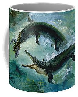 Pre-historic Crocodiles Eating A Fish Coffee Mug