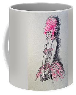 Coffee Mug featuring the drawing Pretty In Pink Hair by Sue Halstenberg