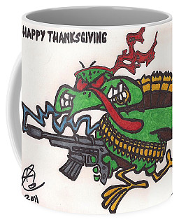 Coffee Mug featuring the drawing Rambo Turkey by Jeremiah Colley