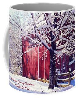 Red Barn In The Winter Connecticut Usa Coffee Mug