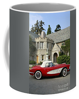 Red Corvette Outside The Playboy Mansion Coffee Mug by Nina Prommer