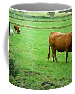Coffee Mug featuring the photograph Red Cow by Charlie and Norma Brock