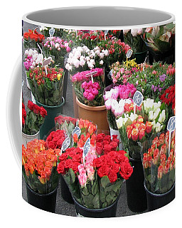 Red Flowers In French Flower Market Coffee Mug by Carla Parris