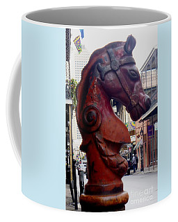 Coffee Mug featuring the photograph Red Horse Head Post by Alys Caviness-Gober