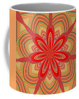 Coffee Mug featuring the digital art Red Star Brocade by Alec Drake