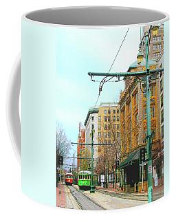 Coffee Mug featuring the photograph Red Trolley Green Trolley by Lizi Beard-Ward