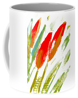 Coffee Mug featuring the digital art Red Tulips by Barbara Moignard