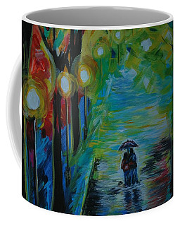 Coffee Mug featuring the painting Romantic Stroll Series 1 by Leslie Allen