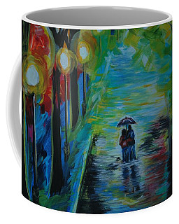 Coffee Mug featuring the painting Romantic Stroll Series II by Leslie Allen