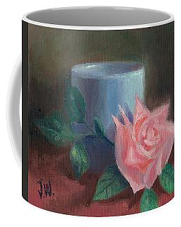 Rose With Blue Cup Coffee Mug