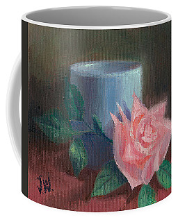 Coffee Mug featuring the painting Rose With Blue Cup by Joe Winkler