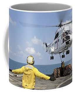 Sailors Attempt To Attach A Cargo Coffee Mug