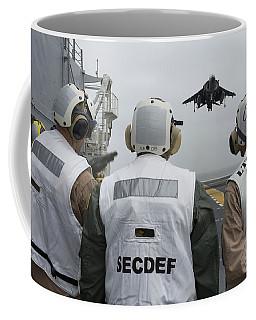 Sailors Observe An Aircraft On Board Coffee Mug
