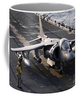 Sailors Prepare An Av-8b Harrier Jet Coffee Mug