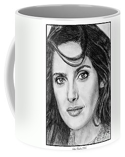 Coffee Mug featuring the drawing Salma Hayek In 2005 by J McCombie
