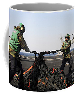 Seamen Tighten A Bundle Of Cargo Nets Coffee Mug