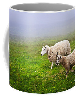 Sheep In Misty Meadow Coffee Mug