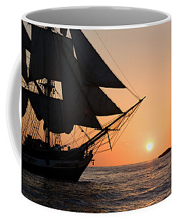 Silhouette Of Tall Ship At Sunset Coffee Mug