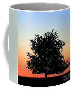 Make People Happy  Square Photograph Of Tree Silhouette Against A Colorful Summer Sky Coffee Mug