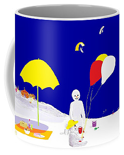 Coffee Mug featuring the digital art Snowman Family Holiday by Barbara Moignard