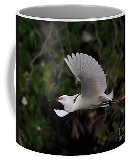 Coffee Mug featuring the photograph Snowy Egret In Flight by Art Whitton