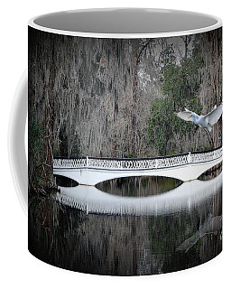 Coffee Mug featuring the photograph Southern Plantation Flying Egret by Dan Friend
