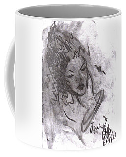 Coffee Mug featuring the drawing Story Of My Heart by Laurie Lundquist