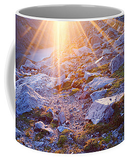 Coffee Mug featuring the photograph Sunburst Over Abyss Lake by Jim Garrison