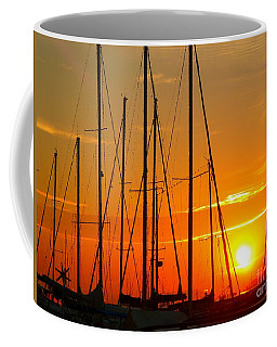 Sunset In A Harbour Digital Photo Painting Coffee Mug