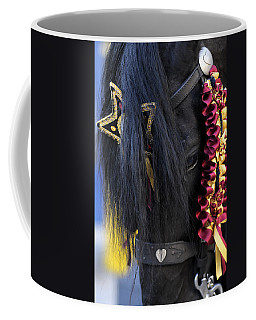 sweetheart - a Menorca race horse with traditional multicolor ribbons and mirror star Coffee Mug by Pedro Cardona