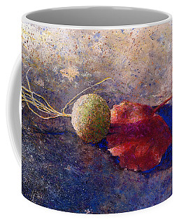 Coffee Mug featuring the painting Sycamore Ball And Leaf by Andrew King