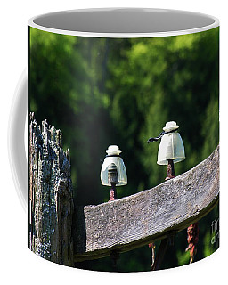 Coffee Mug featuring the photograph Telephone Pole And Insulators by Sherman Perry